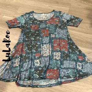 LuLaRoe XXS Muted Floral Block Pattern Tunic